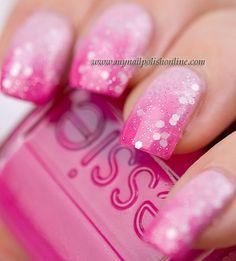 Pink Gradient Nails - My Nail Polish Online Get Nails, Fancy Nails, Love Nails, Trendy Nails, Pink Nails, French Nails Glitter, Pink Glitter, Glitter Nails, Nail Polish Online