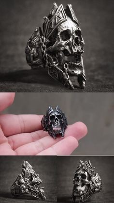 skull ring, Mens rings, fashion cool trending rings for men, mens skull ring, mens fashion rings men Gods of War Skull Rings God Of War, Mens Skull Rings, Silver Skull Ring, Cool Rings For Men, Biker Rings, Skull Jewelry, Gothic Jewelry, Bracelets For Men, Necklaces For Men