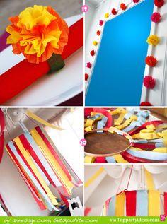 Paper Streamer Decorations 19 and 20 - Streamer chandelier, flower napkin ring, flower garland