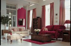 Purple, pink and red living room decor. White, gray and pink living room decor. Burgundy Living Room, Living Room Red, Classic Living Room, Living Room Colors, Living Room Decor, Burgundy Couch, Buy Living Room Furniture, Interior Design Living Room, Living Room Designs