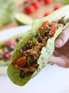 Black bean and walnut taco-style lettuce wraps - super healthy and unbelievably full of flavour!