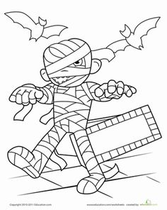 Mummy Worksheet Education Com Halloween Coloring Pages Halloween Coloring Cute Halloween Coloring Pages