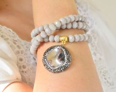 gemstone multi strand bracelet two lines tassel bangle