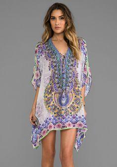 Camilla Portable Paradises Short Lace Up Kaftan in Blue