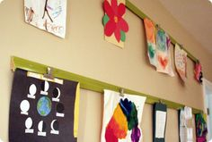 Trim piece + paint + dollar store clips attached with glue = art gallery Hanging Kids Artwork, Displaying Kids Artwork, Artwork Display, Art Wall Kids, Hanging Art, Art For Kids, Kids Art Galleries, Glue Art, Kids Room Organization