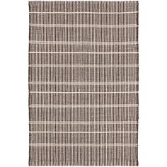 Part of our Bunny Williams collection, this delicately striped, dark brown indoor/outdoor rug was inspired by an antique rug sample from the designers own personal collection. Due to the handmade nature of this rug, variations in color are expected.