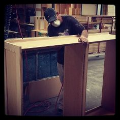 Check out how sanding is done on this inset cabinet box for upper cabinet of a custom kitchen