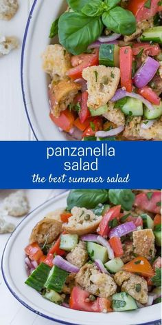 Simply delicious traditional panzanella salad is a summer treat with loads of red ripe tomatoes, chunks of crusty bread, and fresh green basil, dressed in a white wine vinaigrette. Best Summer Salads, Summer Salad Recipes, Healthy Salad Recipes, Lunch Recipes, Cooking Recipes, Panzanella Salad Recipe, Tomato Bruschetta, Bread Salad, Fresh Green