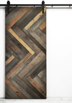 Herringbone Wood 1 Panel Lacquer Stained Barn Door Excluding Hardware