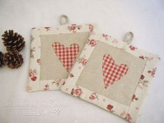 Quilted potholder set of 2 Country chic by InBottegaDaMinu