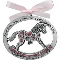 Baby Pink Sweet Rocking Horse CRIB MEDAL with Ribbon ~ Inscribed With Blessing Words ~ Newborn Shower Christening Baptism Gift ~ Keepsake * Learn more by visiting the image link. (This is an affiliate link and I receive a commission for the sales)