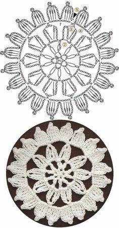Patterns and motifs: Crocheted motif no. Crochet Motif Patterns, Granny Square Crochet Pattern, Crochet Diagram, Crochet Chart, Crochet Squares, Thread Crochet, Crochet Dollies, Crochet Flowers, Crochet Bookmarks