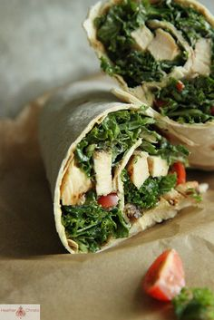 Kale Cesar Salad with Grilled Chicken Wrap by Heather Christo, via Flickr