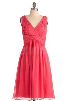 short chiffon bridesmaid dresses | Home > Watermelon A-line V-neck Chiffon Short Bridesmaid Dress BD0021