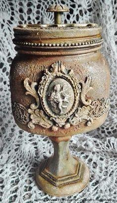 jar with onlay designs, candle stick base? Potion Bottle, Bottle Vase, Bottles And Jars, Glass Bottles, Wine Bottle Crafts, Mason Jar Crafts, Decoupage Jars, Iron Orchid Designs, Altered Bottles