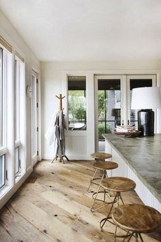 contemporary rustic interior featuring wide plank reclaimed diagonal wood flooring and concrete countertops Farmhouse Flooring, Wooden Flooring, Flooring Ideas, Plywood Floors, Rustic Floors, Plywood Furniture, Wide Plank Flooring, Kid Furniture, Furniture Design