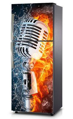 Naklejka na lodówkę - Mikrofon w ogniu i wodzie