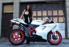 Mercedes Siddiqui Photography 2013 Model: Cassandra www.facebook.com/msiddiquiphoto  Ducati 848 Evo, Pearl White, Matte, Biker Girl, Garage, Live shoot, Super bike