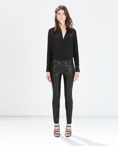 Image 1 of FAUX LEATHER SKINNY JEANS from Zara