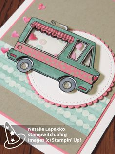 Valentine shaker card by Natalie Lapakko with Tasty Trucks stamp set from Stampin' Up!