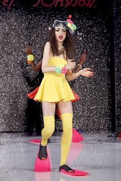 HALL OF HAUTE RIDICULE ALERT: I love how Betsey Johnson--kind of like Christopher Walken and Dolly Parton--has become a parody of herself. Does she expect that people will take this seriously? Does she want young women to go snorkeling in this dress? Would SHE go snorkeling in this dress?