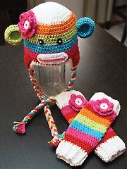 Crochet - Sock Monkey Hat & Leg Warmers - #RAC1161