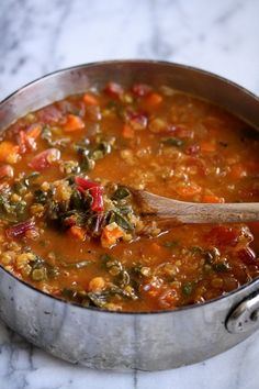 Moroccan Red Lentil Soup with Chard | Easy, Vegetarian, Simple, Healthy