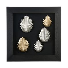 Multi Frame Wall Art wall art, silver leaves, black frame | living accessories