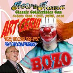 Detroit/Windsor legendary Bozo the Clown  - coming to Windsor's RetroRama Classic Collectibles Con Oct. 30/2016! www.Facebook.com/RetroRamaWindsor Bozo The Clown, Ronald Mcdonald House, Oct 30, Special Guest, Windsor, Detroit, Facebook, Classic, Fun