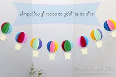 Bright paper garland with balloons. - The Handmade Crafts Easy Crafts, Diy And Crafts, Paper Crafts, Hot Air Balloon Paper, Goodbye Gifts, Paper Mobile, Baby Shower Balloons, Balloon Garland, Colored Paper