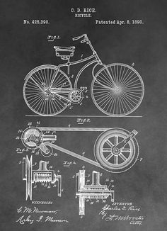 Antique Bicycle Patent Black And White