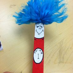 Dr. Seuss - Thing 1, Thing 2 craft stick bookmark. These came out so cute!