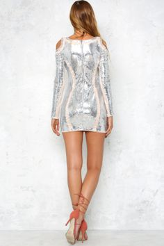 Dancing Until Dawn Dress Silver