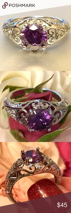 VINTAGE STYLE AMETHYST GO BACK IN TIME... THIS BEAUTIFUL 1.8 CARAT AMETHYST SET IN STERLING SILVER! THE DETAIL OF ETCHING AND SWIRLS MAKE THIS TRULY UNIQUE STONE MEASURES APPROX 10MM includes black velvet gift box NADIA LEROY Jewelry Rings