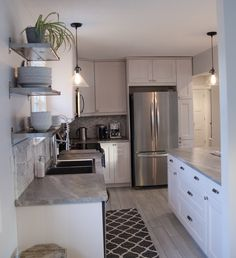 Impressive Tricks Can Change Your Life: Small Kitchen Remodel On A Budget kitchen remodel modern mid century.Kitchen Remodel Backsplash Faucets small kitchen remodel on a budget. Kitchen Ikea, Kitchen Flooring, Kitchen Cabinets, Kitchen Backsplash, Narrow Kitchen, Kitchen Countertops, 1960s Kitchen, Grey Cabinets, Kitchen Pantry