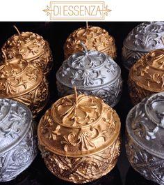 Velas aromatizadas de lavanda, nas cores prateada e dourada. #luxo #diessenza #aromas #aromatizadores #sabonetelíquido #homespray #difusor #cremehidratante #kit #toillete #casa #design #decor #eleganza #premium #lavanda #fragrancia