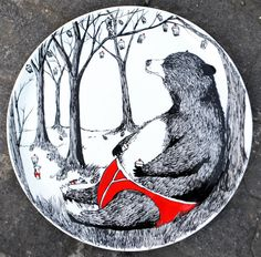 Hand Drawn Serving Plate  Big Bear Pants by jimbobart on Etsy, $300.00