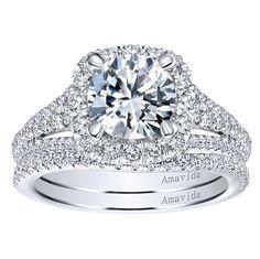 18k White Gold Diamond Halo Engagement Ring   Gabriel & Co NY