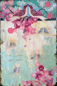 """Kathe Fraga paintings, inspired by the romance of vintage Parisian wallpapers and Chinoiserie with a modern twist:""""You Said Meet Me In Paris? And I Said Yes,"""" 36 x 24 on frescoed canvas. www.kathefraga.com"""