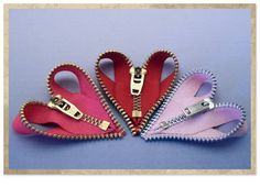 These zipper heart ornaments were blogged on the Junk Shop Bride blog.