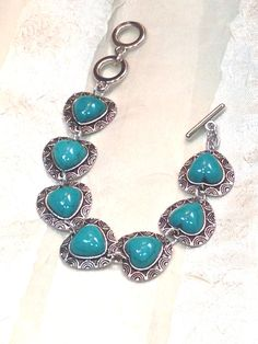 Hearts of Turquoise Howlite Bracelet Handmade by NorthCoastCottage