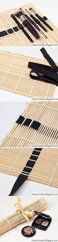 How to make a brush organizer of sushi mat