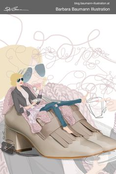 Illustrative branding of a shoe manufacturer: a digital fashion illustration of a young stylish blonde woman with dark sunglasses sitting in real shoes with heels in spring or autumn fall outfit. the figure drawing is done on the pad with a separate layer for the draft to define the human female body proportions step by step with simple abstract basic shapes. The sketchbook sketch with pencils or pen is done to find new ideas with helpful techniques and creative methods #fashionillustration Paul Green, Fashion Illustrations, Fashion Sketches, Illustrator, Body Proportions, Shoe Manufacturers, Illustration Mode, Basic Shapes, Blonde Women