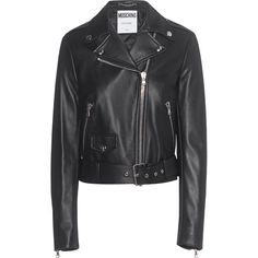 MOSCHINO Back Print Black // Leather jacket with label print (18.175 HRK) ❤ liked on Polyvore featuring outerwear, jackets, leather biker jacket, motorcycle jacket, punk leather jacket, padded motorcycle jacket and cropped biker jacket