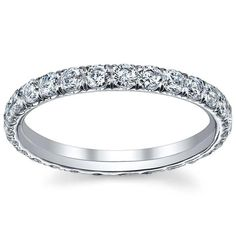 Ladies pave diamond eternity ring in yellow gold,finger size The diamonds are set U pave and and are G color and VS clarity. This pave diamond eternity ring measures wide and features approximately diamonds. Moissanite Wedding Rings, Moissanite Diamonds, Titanium Rings For Men, Charles And Colvard Moissanite, Forever One Moissanite, Eternity Ring Diamond, Anniversary Rings, Natural Diamonds, Engagement Rings