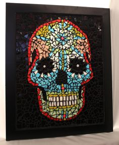 Day of the Dead style mosaic skull  - in stained glass  - 16 x 20 framed