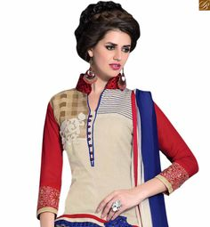 #Straight #suit with pretty #neck #design #salwar kameez 2015 nice #dress for girl
