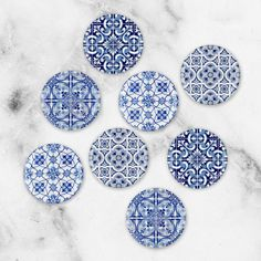 This Blue Tile Print Refrigerator Magnets Blue Kitchen Decor is just one of the custom, handmade pieces you'll find in our refrigerator magnets shops.