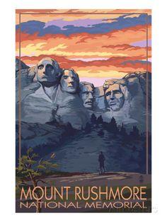 Mount Rushmore National Memorial, South Dakota - Sunset View Prints by Lantern Press at AllPosters.com