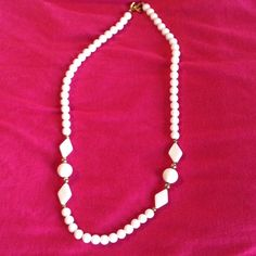 """White costume necklace 11"""" in length. Beautiful for Spring & Summer outfits. Jewelry Necklaces"""